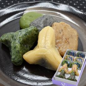 山形の伝承ゆべしセット(くるみ・ごま・お茶・醤油こしあん・よもぎつぶあん)各2個 化粧箱入り