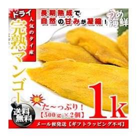 長期熟成で自然の甘み♪完熟 ドライマンゴー 1kg(500g×2個)【タイ産 訳あり】【送料無料】※代金引換不可 F
