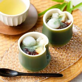 笹パウダー入り水羊羹に、シロップ漬けにしたタケノコ、白玉、あずきをトッピングした新食感スイーツ。