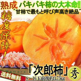 冷蔵熟成 次郎柿 約3.75kg 8~16玉 静岡県産中心 秀品~優品 贈答可能 お歳暮に最適な個別梱包!硬い果肉に糖度保証の完全甘柿