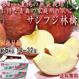 サンふじ りんご 約6kg 14~32玉 青森県産 訳あり品 無袋栽培で濃厚な味と高糖度!美味しさ重視のあおもり林檎