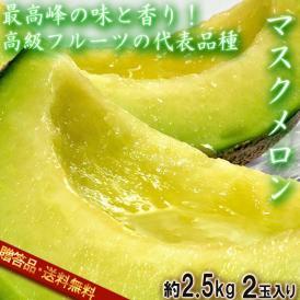 マスクメロン 2玉 合計約2.5kg 贈答品 静岡県産 又は茨城県産等 温室栽培 香り豊かで濃厚な甘さ!国内を代表する高級フルーツ