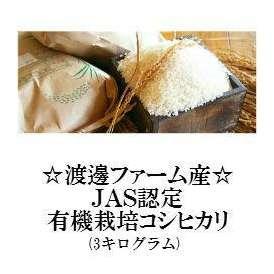 「渡邊ファーム産」JAS認定有機栽培コシヒカリ(3キログラム)【有機米】
