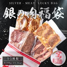 【29 肉の日割引】銀の肉福袋ローストビーフや味付けカルビなど計1.5kg(300g×5種類)