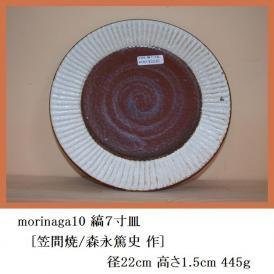 丸皿 菓子皿 オードブル皿 縞7寸皿 笠間焼 森永篤史