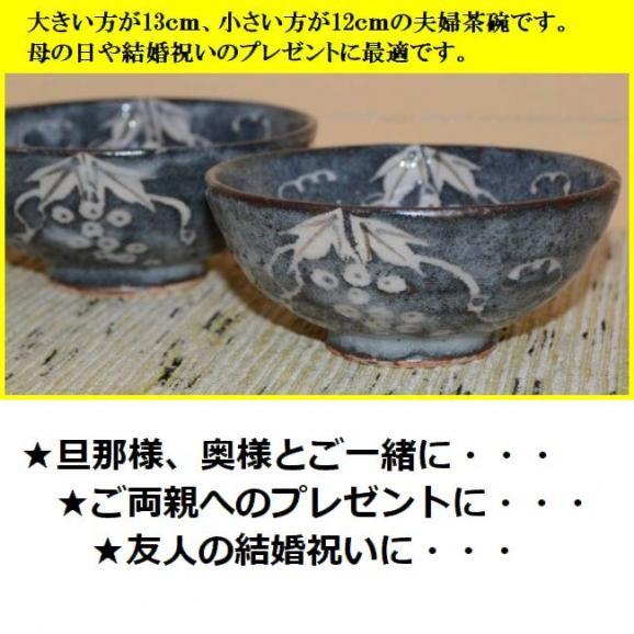 ご飯茶碗 飯碗 陶器 プレゼント 鼠志野ぶどう文夫婦茶碗 美濃焼 玉山窯02