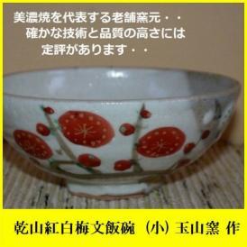 ご飯茶碗 飯碗 陶器 プレゼント 乾山紅白梅茶碗(小) 美濃焼 玉山窯