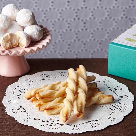 「佐渡チーズと佐渡番茶の淡塩スティックパイ」「佐渡レモンと佐渡バターの小雪ぼーる」01