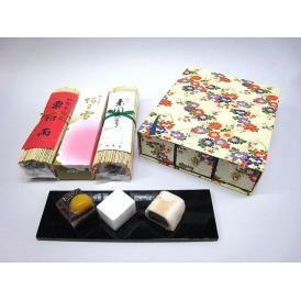松琴堂  友禅化粧箱3本いり (阿わ雪1本・棹菓子2本) お好みセット 《夏》