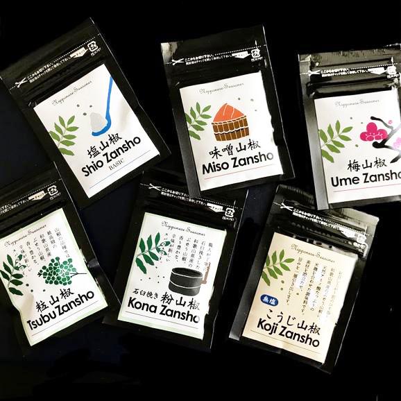 ブレンド山椒ミニサイズお得セット 全6種×各1袋(塩、梅、味噌、こうじ、粉、粒山椒) 01
