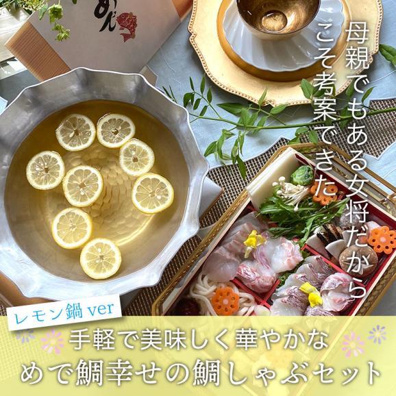 明石めで鯛や 幸せの鯛しゃぶセットレモン鍋バージョン(2~3名用)選べるメッセージ熨斗(無料)01